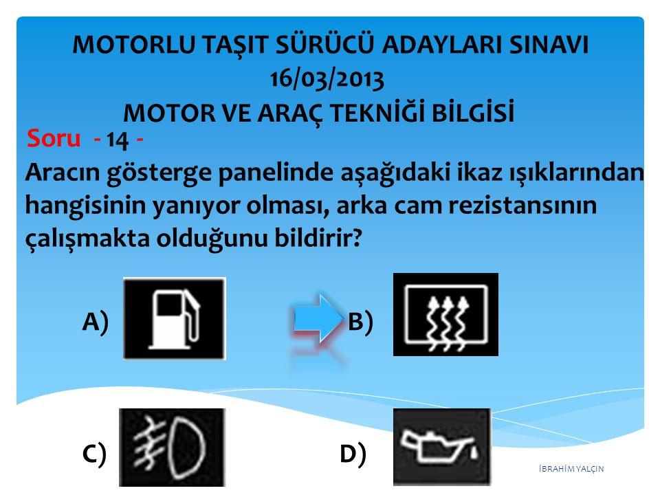 İBRAHİM YALÇIN Aracın gösterge panelinde aşağıdaki ikaz ışıklarından hangisinin yanıyor olması, arka cam rezistansının çalışmakta olduğunu bildirir? S
