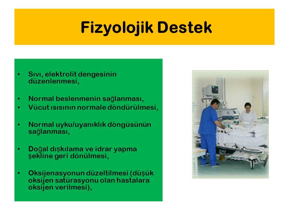 Fizyolojik Destek Sıvı, elektrolit dengesinin düzenlenmesi, Normal beslenmenin sa ğ lanması, Vücut ısısının normale döndürülmesi, Normal uyku/uyanıklı