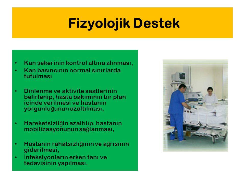 Fizyolojik Destek Kan ş ekerinin kontrol altına alınması, Kan basıncının normal sınırlarda tutulması Dinlenme ve aktivite saatlerinin belirlenip, hast