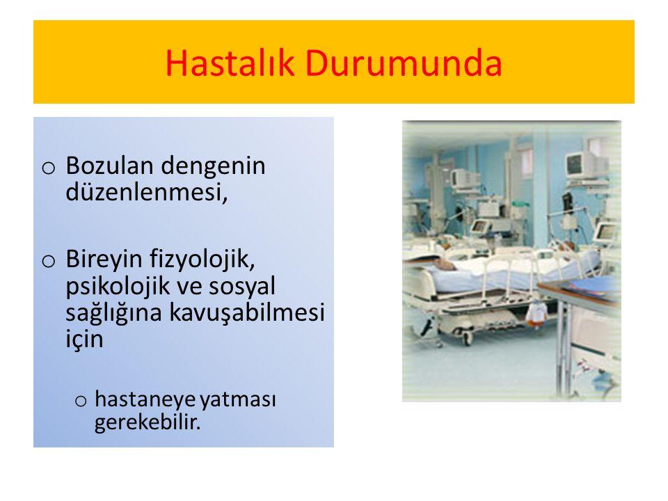 Hastalık Durumunda o Bozulan dengenin düzenlenmesi, o Bireyin fizyolojik, psikolojik ve sosyal sağlığına kavuşabilmesi için o hastaneye yatması gereke