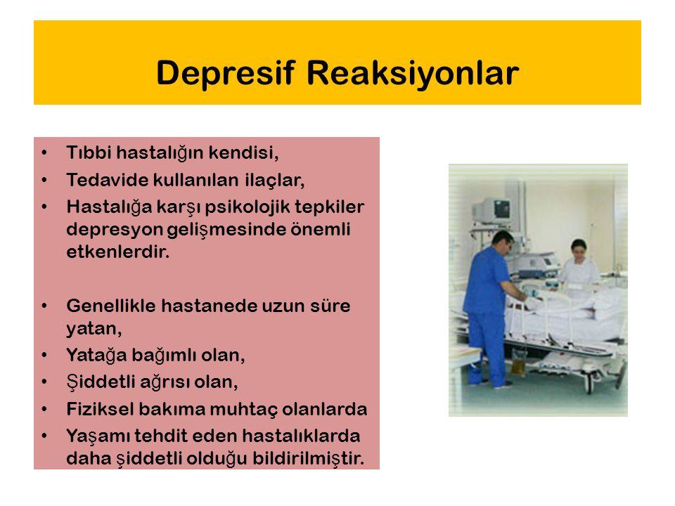 Depresif Reaksiyonlar Tıbbi hastalı ğ ın kendisi, Tedavide kullanılan ilaçlar, Hastalı ğ a kar ş ı psikolojik tepkiler depresyon geli ş mesinde önemli