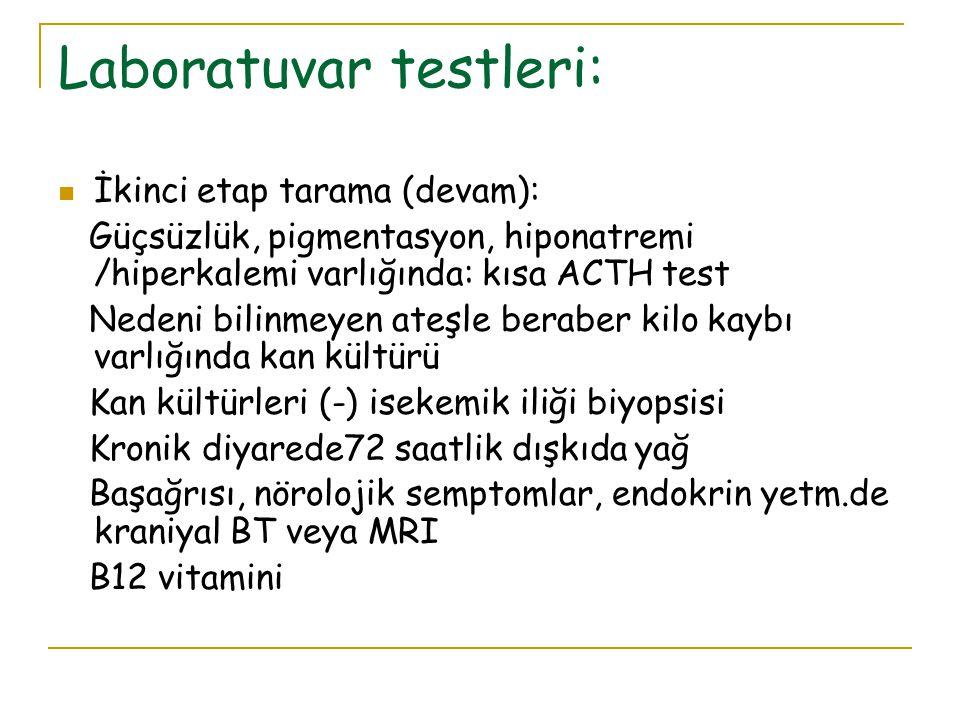 Laboratuvar testleri: İkinci etap tarama (devam): Güçsüzlük, pigmentasyon, hiponatremi /hiperkalemi varlığında: kısa ACTH test Nedeni bilinmeyen ateşl