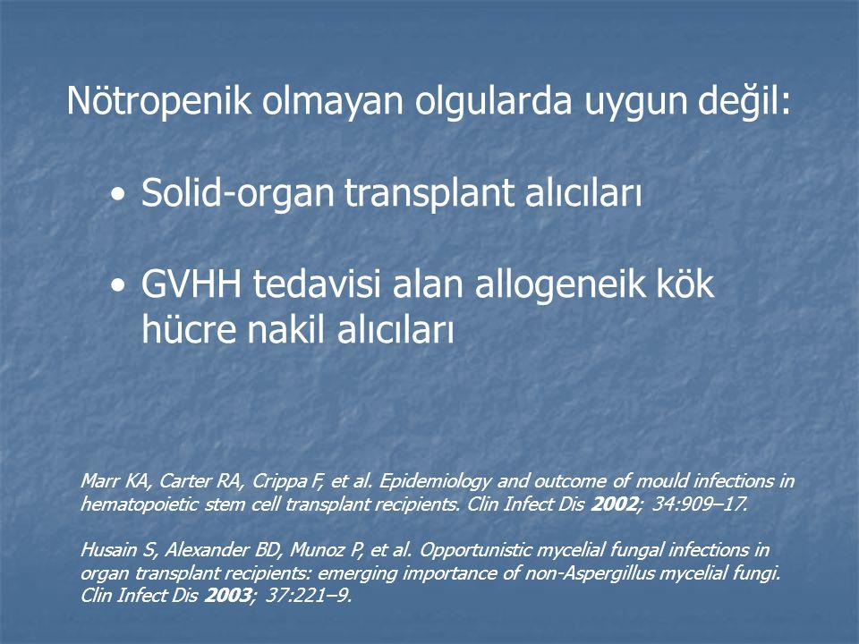 Nötropenik olmayan olgularda uygun değil: Solid-organ transplant alıcıları GVHH tedavisi alan allogeneik kök hücre nakil alıcıları Marr KA, Carter RA, Crippa F, et al.