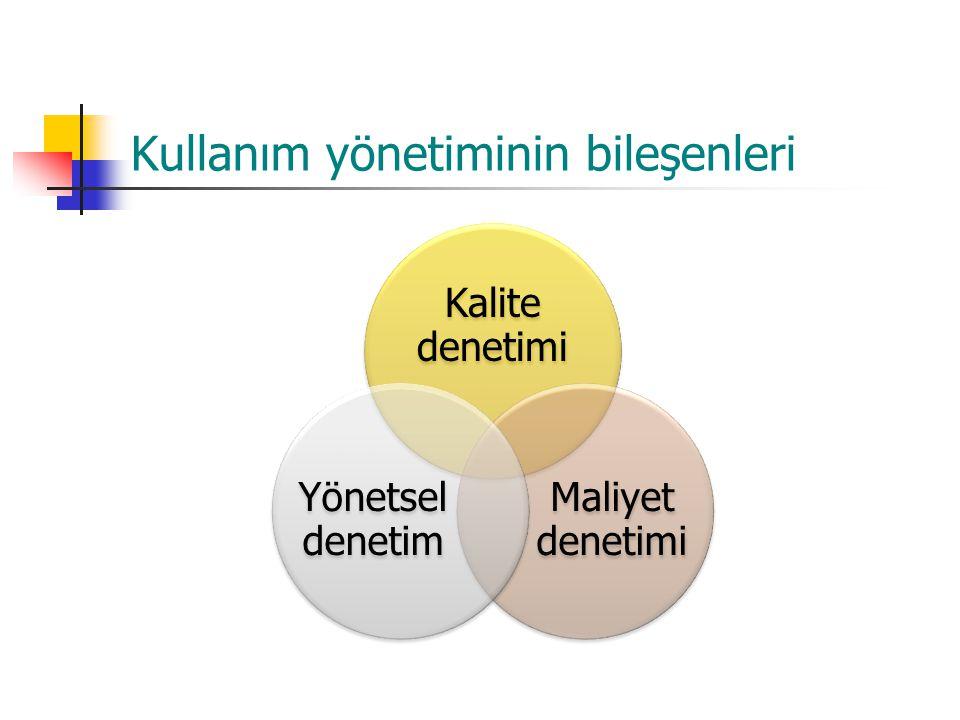 Kullanım yönetiminin bileşenleri Kalite denetimi Maliyet denetimi Yönetsel denetim
