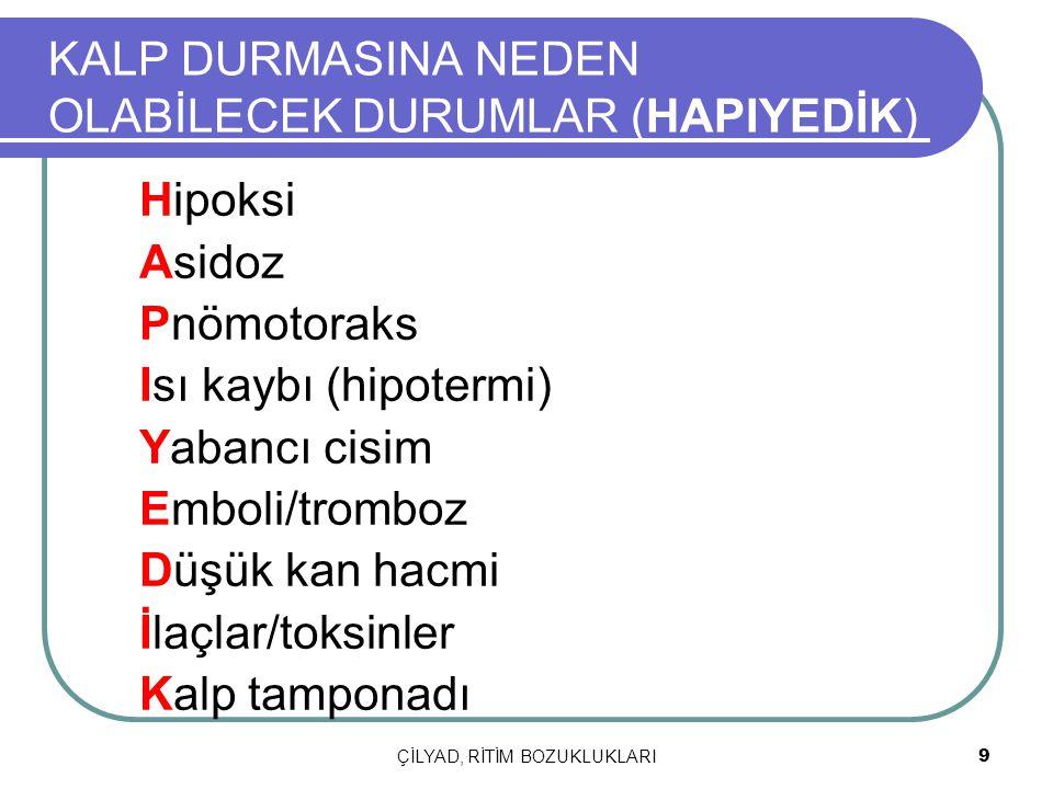 9 KALP DURMASINA NEDEN OLABİLECEK DURUMLAR (HAPIYEDİK) Hipoksi Asidoz Pnömotoraks Isı kaybı (hipotermi) Yabancı cisim Emboli/tromboz Düşük kan hacmi İ