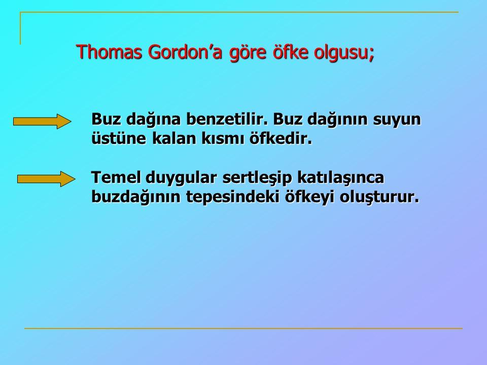 Thomas Gordon'a göre öfke olgusu; Buz dağına benzetilir. Buz dağının suyun üstüne kalan kısmı öfkedir. Temel duygular sertleşip katılaşınca buzdağının