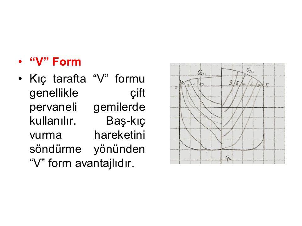 V Form Kıç tarafta V formu genellikle çift pervaneli gemilerde kullanılır.