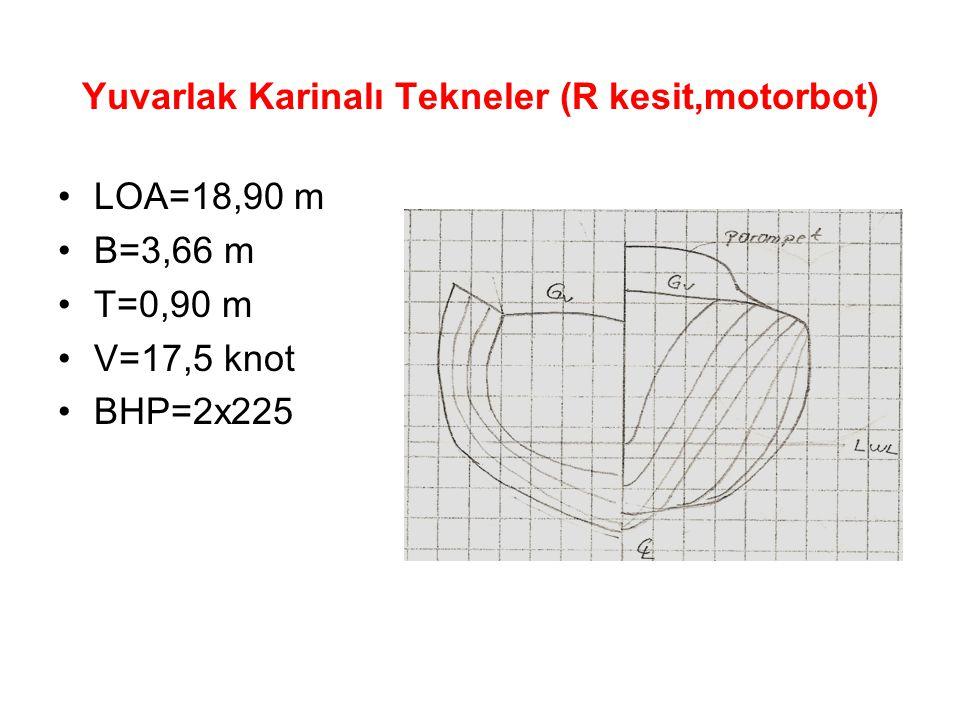 Yuvarlak Karinalı Tekneler (R kesit,motorbot) LOA=18,90 m B=3,66 m T=0,90 m V=17,5 knot BHP=2x225