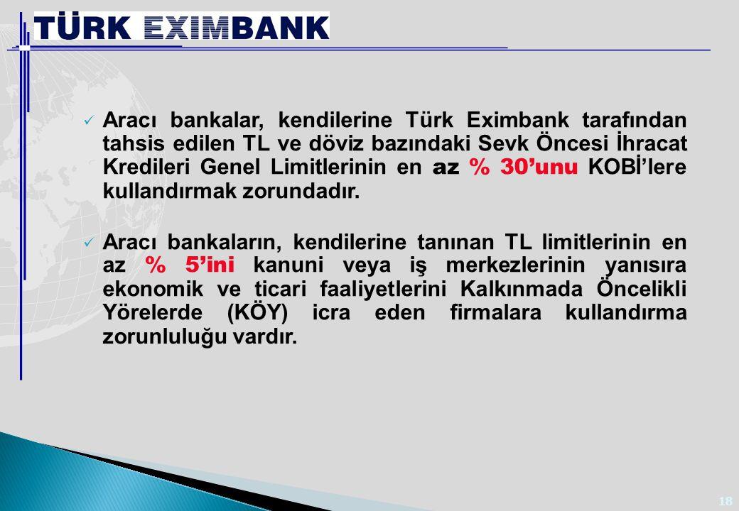 18 Aracı bankalar, kendilerine Türk Eximbank tarafından tahsis edilen TL ve döviz bazındaki Sevk Öncesi İhracat Kredileri Genel Limitlerinin en az % 3