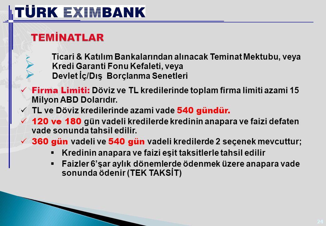 24  Ticari & Katılım Bankalarından alınacak Teminat Mektubu, veya  Kredi Garanti Fonu Kefaleti, veya  Devlet İç/Dış Borçlanma Senetleri Firma Limit