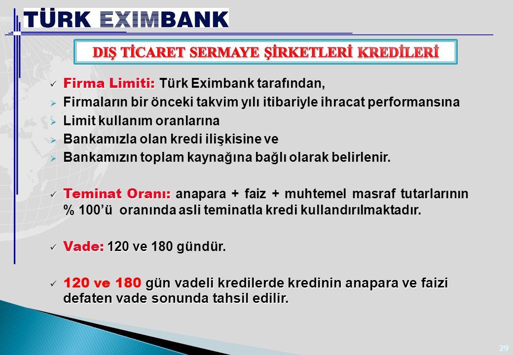 29 Firma Limiti: Firma Limiti: Türk Eximbank tarafından,  Firmaların bir önceki takvim yılı itibariyle ihracat performansına  Limit kullanım oranlar