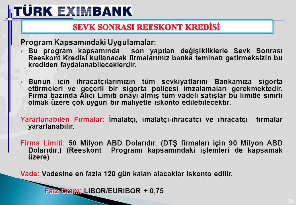 34 Program Kapsamındaki Uygulamalar:  Bu program kapsamında son yapılan değişikliklerle Sevk Sonrası Reeskont Kredisi kullanacak firmalarımız banka t