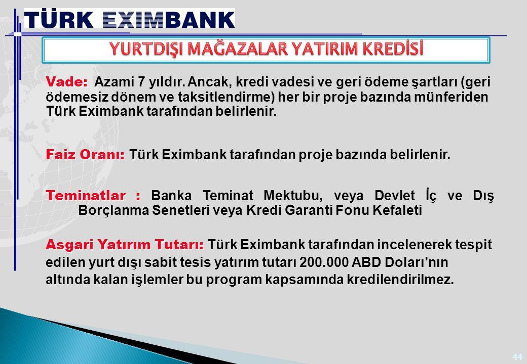 44 Vade: Vade: Azami 7 yıldır. Ancak, kredi vadesi ve geri ödeme şartları (geri ödemesiz dönem ve taksitlendirme) her bir proje bazında münferiden Tür