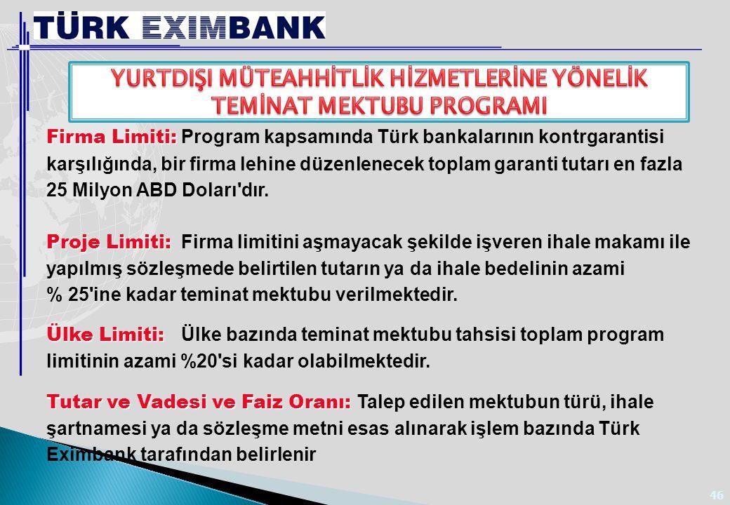 46 Firma Limiti: Firma Limiti: Program kapsamında Türk bankalarının kontrgarantisi karşılığında, bir firma lehine düzenlenecek toplam garanti tutarı e