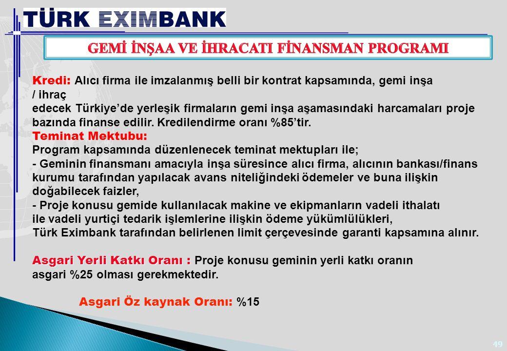 49 Kredi: Alıcı firma ile imzalanmış belli bir kontrat kapsamında, gemi inşa / ihraç edecek Türkiye'de yerleşik firmaların gemi inşa aşamasındaki harc