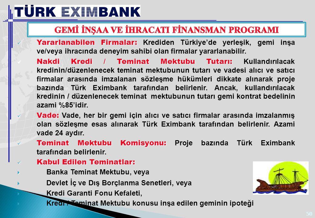 50 Yararlanabilen Firmalar: Yararlanabilen Firmalar: Krediden Türkiye'de yerleşik, gemi inşa ve/veya ihracında deneyim sahibi olan firmalar yararlanab