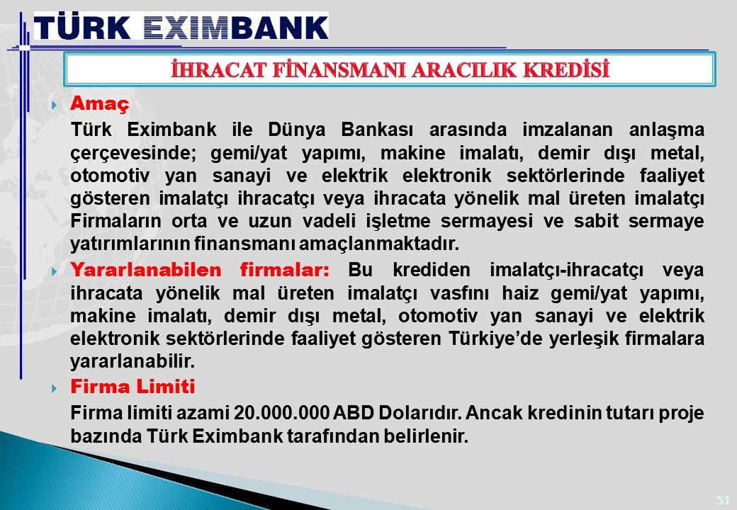 51  Amaç Türk Eximbank ile Dünya Bankası arasında imzalanan anlaşma çerçevesinde; gemi/yat yapımı, makine imalatı, demir dışı metal, otomotiv yan san