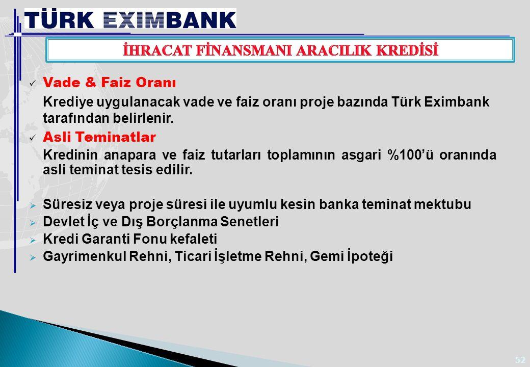 52 Vade & Faiz Oranı Krediye uygulanacak vade ve faiz oranı proje bazında Türk Eximbank tarafından belirlenir. Asli Teminatlar Kredinin anapara ve fai