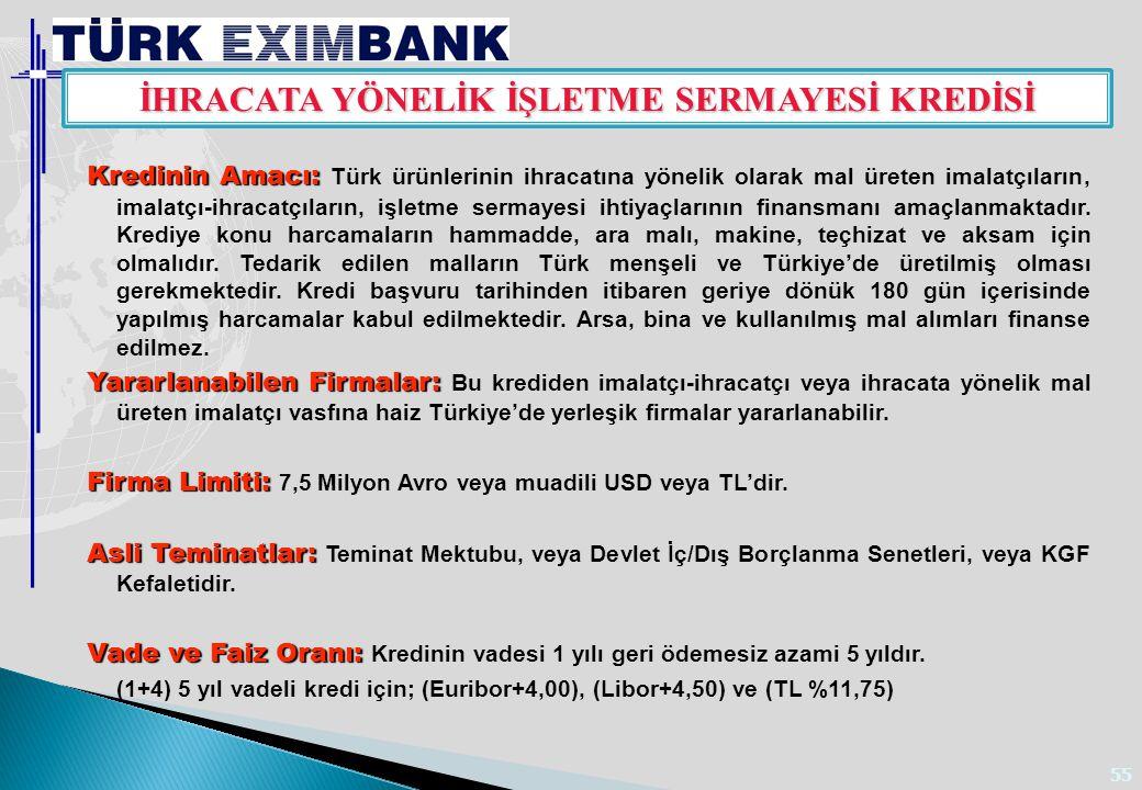 55 Kredinin Amacı: Kredinin Amacı: Türk ürünlerinin ihracatına yönelik olarak mal üreten imalatçıların, imalatçı-ihracatçıların, işletme sermayesi iht