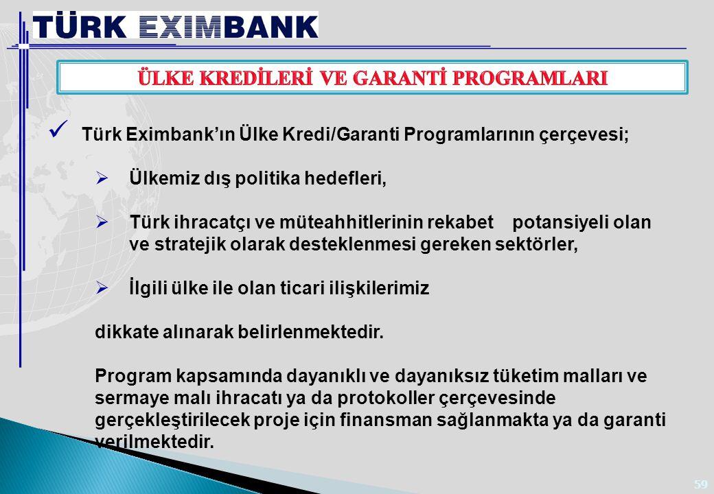 59 Türk Eximbank'ın Ülke Kredi/Garanti Programlarının çerçevesi;  Ülkemiz dış politika hedefleri,  Türk ihracatçı ve müteahhitlerinin rekabet potans