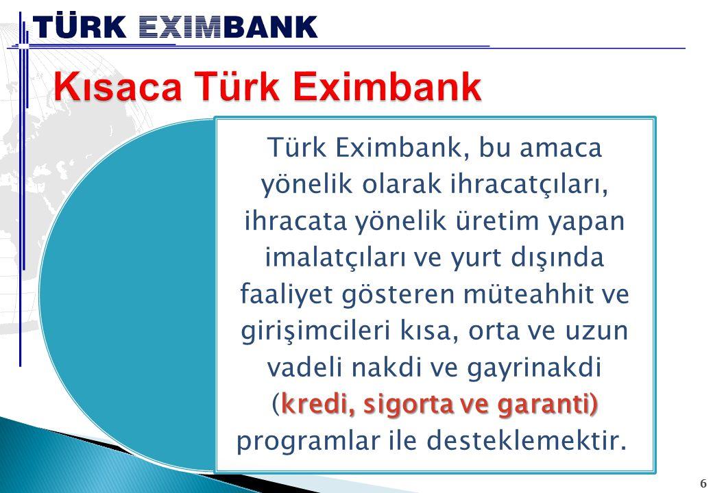 6 kredi, sigorta ve garanti) Türk Eximbank, bu amaca yönelik olarak ihracatçıları, ihracata yönelik üretim yapan imalatçıları ve yurt dışında faaliyet