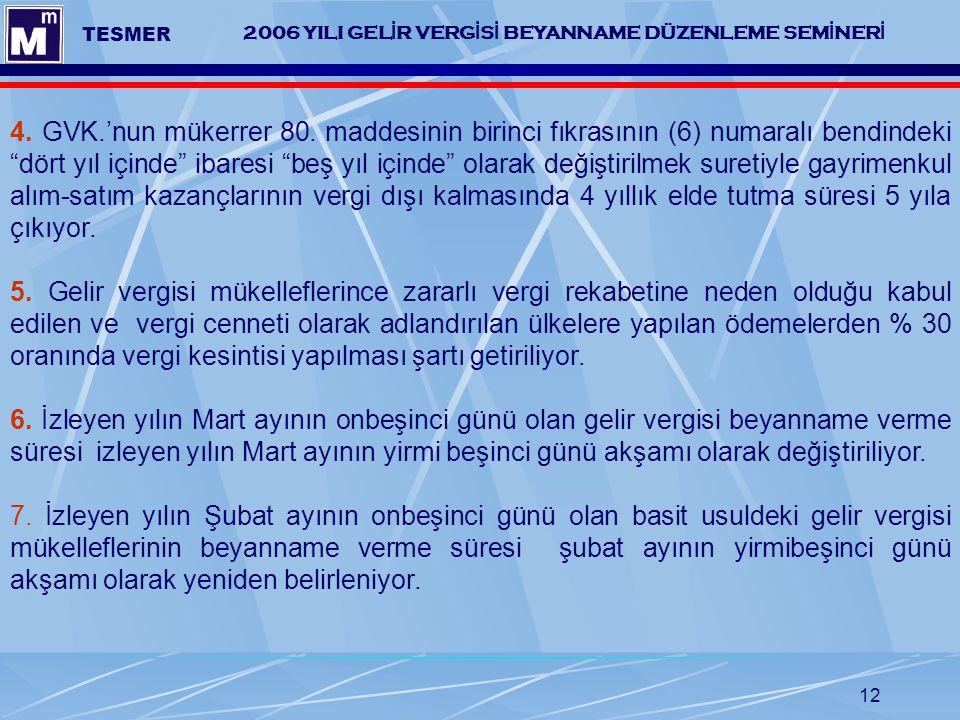 12 2006 YILI GEL İ R VERG İ S İ BEYANNAME DÜZENLEME SEM İ NER İ TESMER 4. GVK.'nun mükerrer 80. maddesinin birinci fıkrasının (6) numaralı bendindeki