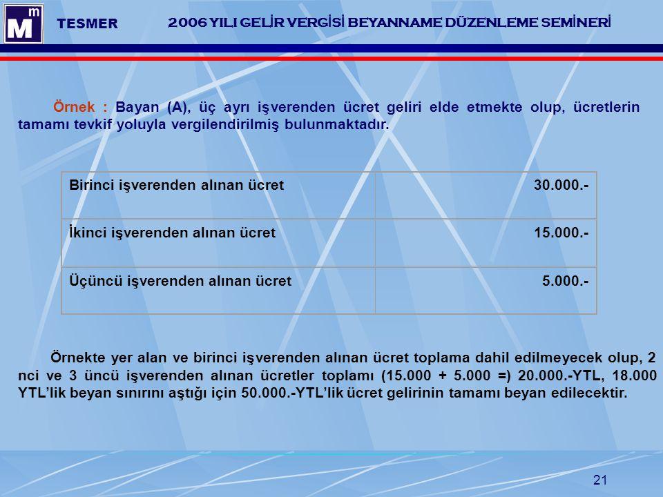 21 2006 YILI GEL İ R VERG İ S İ BEYANNAME DÜZENLEME SEM İ NER İ TESMER Örnek : Bayan (A), üç ayrı işverenden ücret geliri elde etmekte olup, ücretleri
