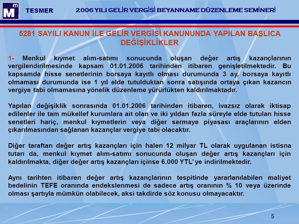 5 2006 YILI GEL İ R VERG İ S İ BEYANNAME DÜZENLEME SEM İ NER İ TESMER 5281 SAYILI KANUN İLE GELİR VERGİSİ KANUNUNDA YAPILAN BAŞLICA DEĞİŞİKLİKLER 1- M