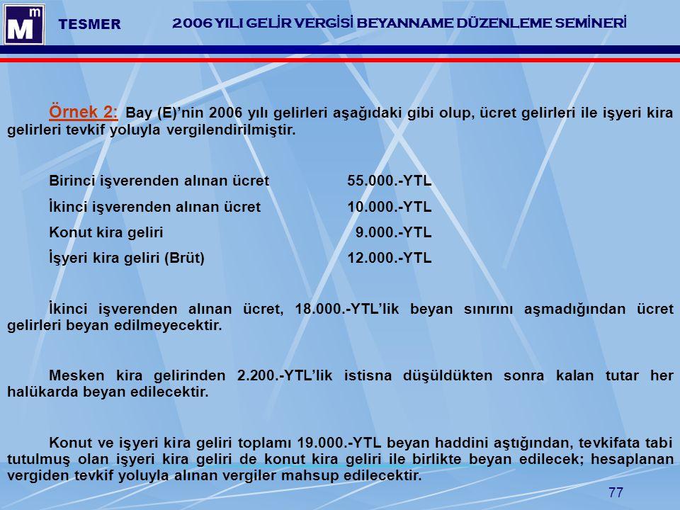 77 2006 YILI GEL İ R VERG İ S İ BEYANNAME DÜZENLEME SEM İ NER İ TESMER Örnek 2: Bay (E)'nin 2006 yılı gelirleri aşağıdaki gibi olup, ücret gelirleri i