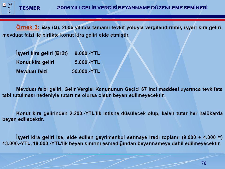 78 2006 YILI GEL İ R VERG İ S İ BEYANNAME DÜZENLEME SEM İ NER İ TESMER Örnek 3: Bay (G), 2006 yılında tamamı tevkif yoluyla vergilendirilmiş işyeri ki