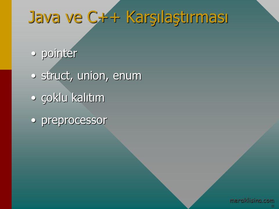 11 11 meraklisina.com Java ve C++ Karşılaştırması pointerpointer struct, union, enumstruct, union, enum çoklu kalıtımçoklu kalıtım preprocessorpreprocessor