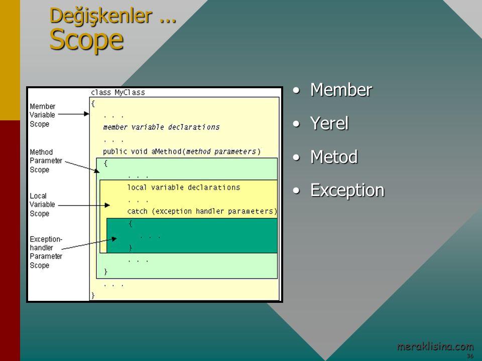 36 36 meraklisina.com Değişkenler... Scope MemberMember YerelYerel MetodMetod ExceptionException