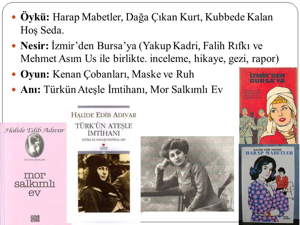 Mehmet Erdo ğ an And. Lis. Mücahid Serçek Ed. Ö ğ rt. Öykü: Harap Mabetler, Dağa Çıkan Kurt, Kubbede Kalan Hoş Seda. Nesir: İzmir'den Bursa'ya (Yakup