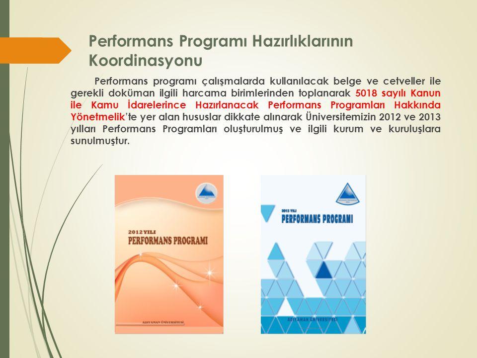 Performans Programı Hazırlıklarının Koordinasyonu Performans programı çalışmalarda kullanılacak belge ve cetveller ile gerekli doküman ilgili harcama birimlerinden toplanarak 5018 sayılı Kanun ile Kamu İdarelerince Hazırlanacak Performans Programları Hakkında Yönetmelik'te yer alan hususlar dikkate alınarak Üniversitemizin 2012 ve 2013 yılları Performans Programları oluşturulmuş ve ilgili kurum ve kuruluşlara sunulmuştur.