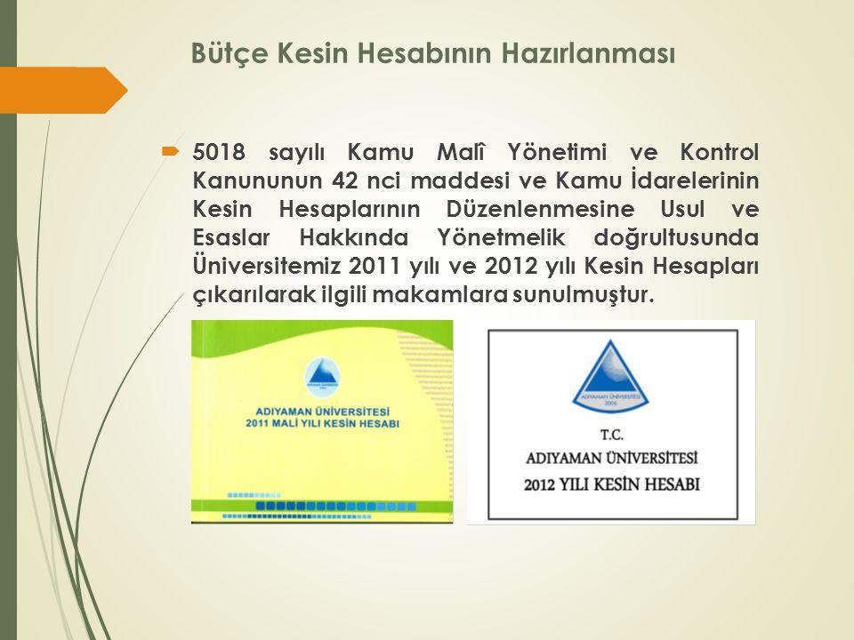 Bütçe Kesin Hesabının Hazırlanması  5018 sayılı Kamu Malî Yönetimi ve Kontrol Kanununun 42 nci maddesi ve Kamu İdarelerinin Kesin Hesaplarının Düzenlenmesine Usul ve Esaslar Hakkında Yönetmelik doğrultusunda Üniversitemiz 2011 yılı ve 2012 yılı Kesin Hesapları çıkarılarak ilgili makamlara sunulmuştur.
