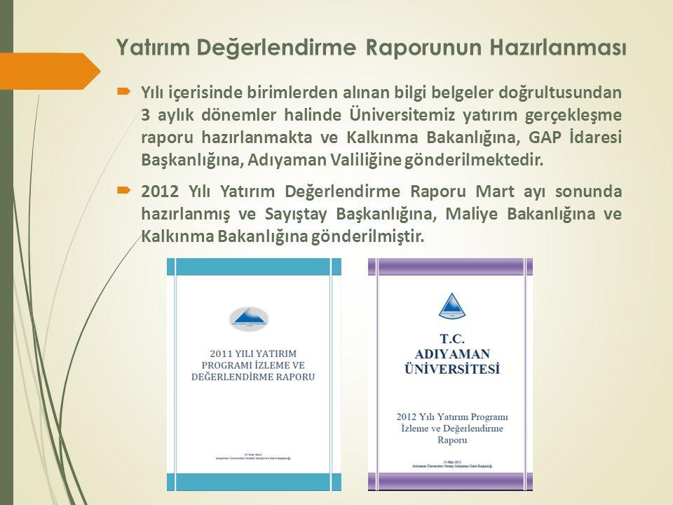 Yatırım Değerlendirme Raporunun Hazırlanması  Yılı içerisinde birimlerden alınan bilgi belgeler doğrultusundan 3 aylık dönemler halinde Üniversitemiz