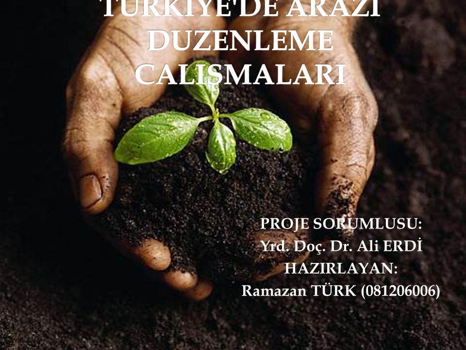 1-Giriş 2- Mevcut tarımsal yapı ile ilgili problemler 3- Türkiye'de Cumhuriyet Öncesi Toprak Mülkiyeti 4- Ülkemizde uygulanabilir bir arazi düzenleme politikasının temel ilkeleri 5-1923 Cumhuriyetin İlanı Sonrası Süreç 5- Uygulayıcı Kurumlar 6- TRGM Bölge Müdürlükleri ve Uygulama Alanları 7- Toprak ve Tarım Reformu Kanunu, 8- Tarım Reformu Kanunu 9- 5403 Sayılı Kanun 10- Düzenleme çalışmalarının başlangıcı 11- Cumhuriyet tarihimizde çiftçiyi topraklandırma çalışmaları 12- Toplulaştırma Yapılacak Alanlar 13- Arazi toplulaştırmasının sağladığı kazanımlar.