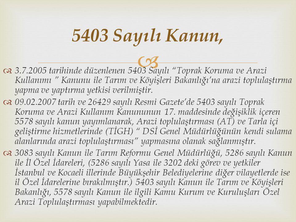 """  3.7.2005 tarihinde düzenlenen 5403 Sayılı """"Toprak Koruma ve Arazi Kullanımı """" Kanunu ile Tarım ve Köyişleri Bakanlığı'na arazi toplulaştırma yapma"""