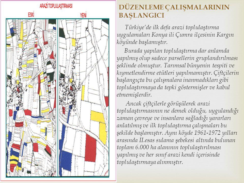 DÜZENLEME ÇALIŞMALARININ BAŞLANGICI Türkiye'de ilk defa arazi toplulaştırma uygulamaları Konya ili Çumra ilçesinin Kargın köyünde başlamıştır. Burada