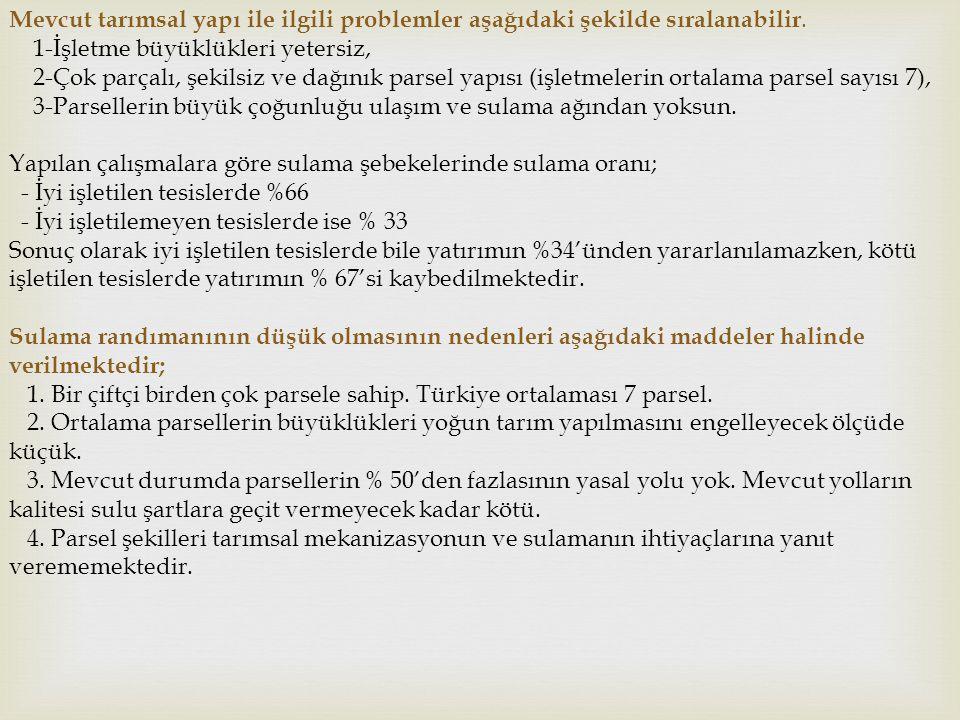 Arazi Toplulaştırması Çalışmalarının Sağladığı Kazanımlar  Türkiye'de sulamaya açılmış ve açılacak olan 7,5 milyon hektar arazinin tamamlandığında beklenen kazanım aşağıdaki gibi hesaplanmıştır.