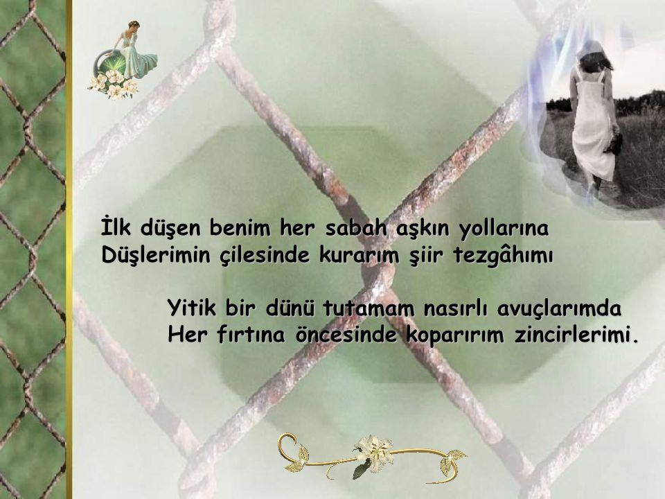 Gördüm ki, bütün türküler dağları söyler Bütün baharlarda tomurcuk kana döner Ölümcül bir soyut tüm boyutlarımda Kanlı bir düğümden hep kan damlar.