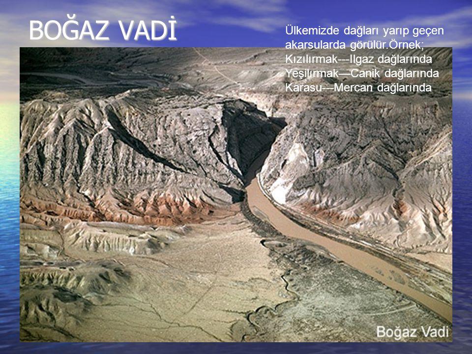 BOĞAZ VADİ Ülkemizde dağları yarıp geçen akarsularda görülür.Örnek; Kızılırmak---Ilgaz dağlarında Yeşilırmak—Canik dağlarında Karasu---Mercan dağların