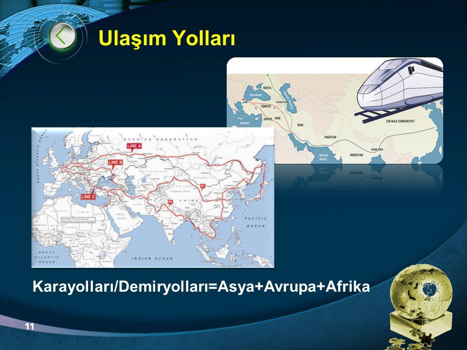 LOGO Ulaşım Yolları Karayolları/Demiryolları=Asya+Avrupa+Afrika 11