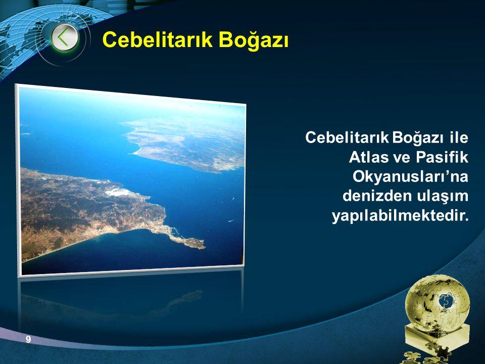 LOGO Cebelitarık Boğazı Cebelitarık Boğazı ile Atlas ve Pasifik Okyanusları'na denizden ulaşım yapılabilmektedir. 9