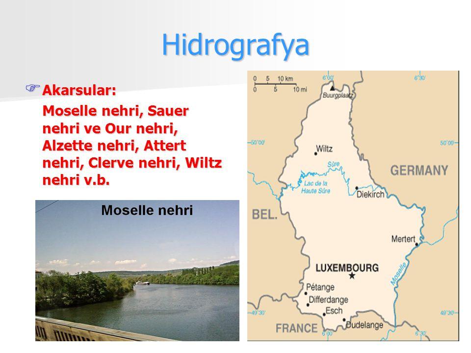 Hidrografya  Akarsular: Moselle nehri, Sauer nehri ve Our nehri, Alzette nehri, Attert nehri, Clerve nehri, Wiltz nehri v.b.