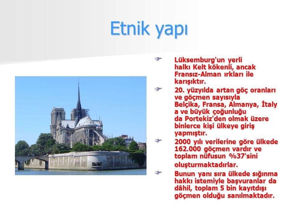 Etnik yapı  Lüksemburg un yerli halkı Kelt kökenli, ancak Fransız-Alman ırkları ile karışıktır.