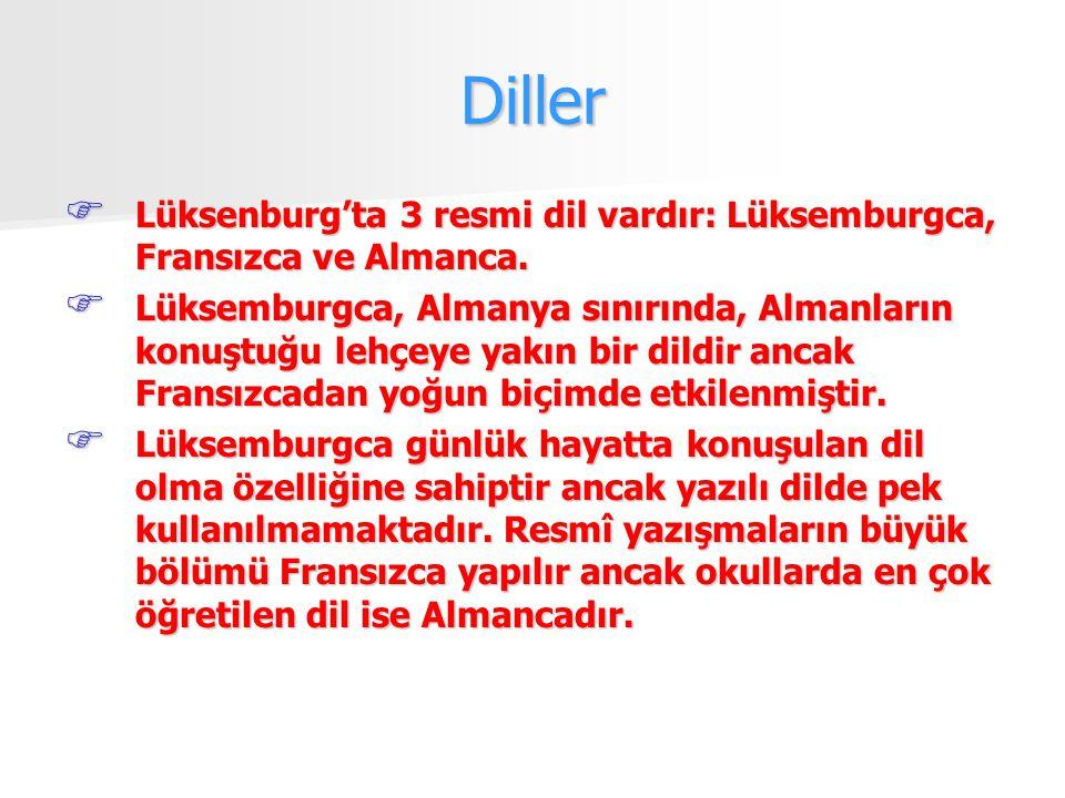 Diller  Lüksenburg'ta 3 resmi dil vardır: Lüksemburgca, Fransızca ve Almanca.