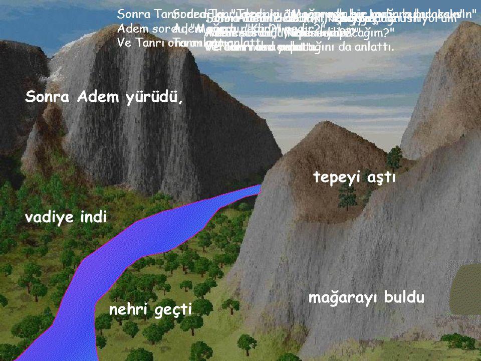 Tanrı Adem e dedi ki, Vadiye doğru in Adem sordu, Vadi nedir? Ve Tanrı ona anlattı.
