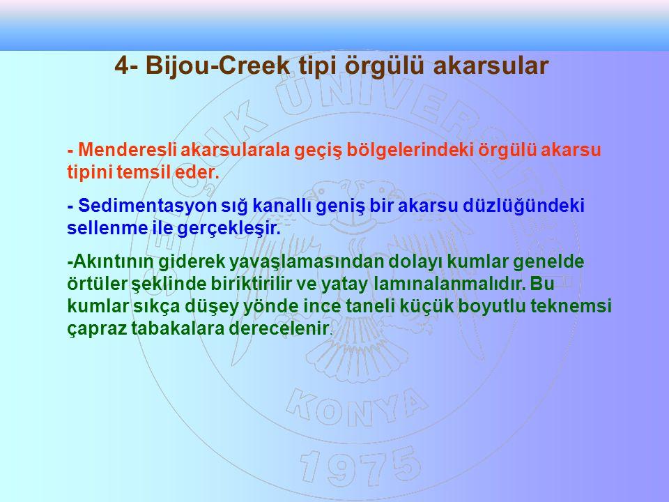 4- Bijou-Creek tipi örgülü akarsular - Menderesli akarsularala geçiş bölgelerindeki örgülü akarsu tipini temsil eder. - Sedimentasyon sığ kanallı geni