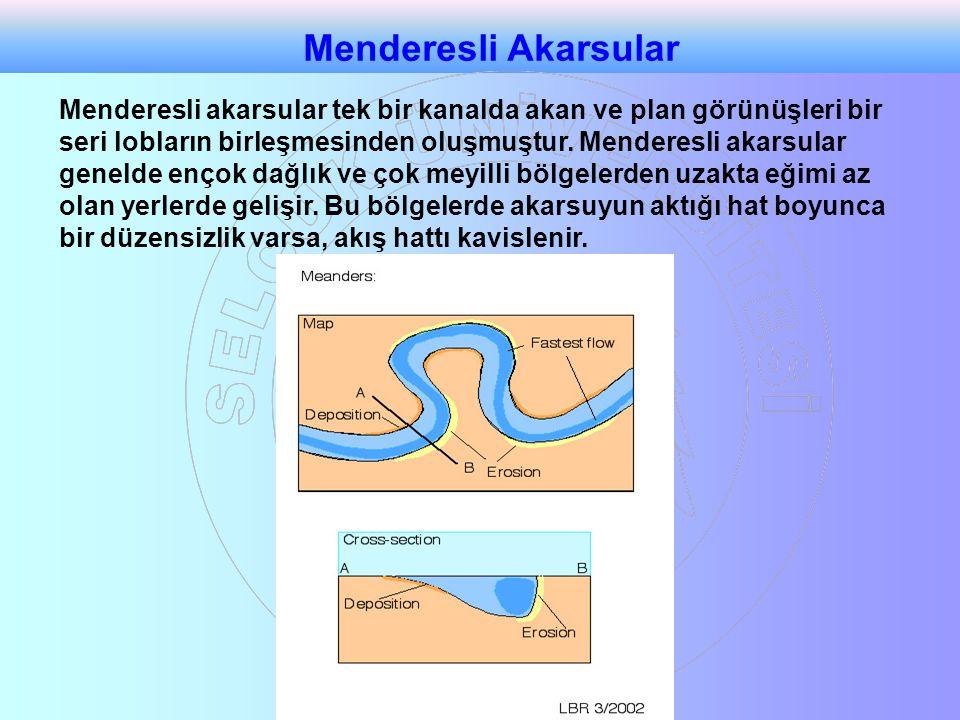 Menderesli akarsular tek bir kanalda akan ve plan görünüşleri bir seri lobların birleşmesinden oluşmuştur. Menderesli akarsular genelde ençok dağlık v